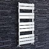 iBathUK | 1000 x 450 White Flat Panel Heated Towel Rail Bathroom Radiator - All Sizes