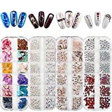 4 Boxes Nail Art Rhinestones and Gems - 3D Nail Art Gems Nail Crystals Mixed Shapes and Colors