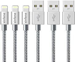 iPhone Charger Cable Xinfene (1M/3FT-3Pack,Grey) Fast Sync Charger USB Cable Nylon Braided Cord