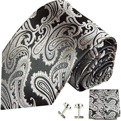 Cravate argenté noire paisley ensemble de cravate 3 Pièces ( 100% Soie Cravate + Mouchoir + Boutons de manchette )