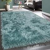 Paco Home Moderner Wohnzimmer Shaggy Hochflor Teppich Soft Garn In Uni Pastell Türkis, Grösse:80x150 cm