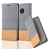 Cadorabo Hülle für Motorola Moto G5 - Hülle in HELL GRAU BRAUN – Handyhülle mit Standfunktion und Kartenfach im Stoff Design - Case Cover Schutzhülle Etui Tasche Book