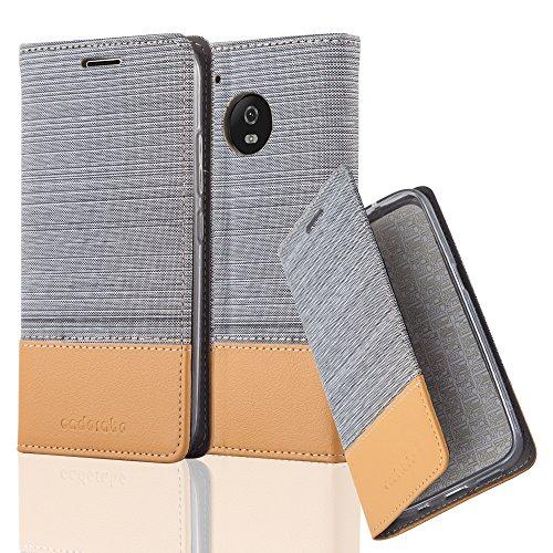 Cadorabo Hülle für Motorola Moto G5 Plus - Hülle in HELL GRAU BRAUN - Handyhülle mit Standfunktion & Kartenfach im Stoff Design - Case Cover Schutzhülle Etui Tasche Book