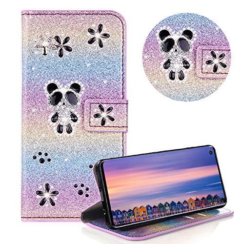 Glitzer Strass Brieftasche für Galaxy S10,Regenbogen Lila Leder Handyhülle für Galaxy S10,Moiky Luxus 3D Magnetisch Kristall Niedlich Panda Blumen Diamant Hülle mit Kartenfächer Ständer