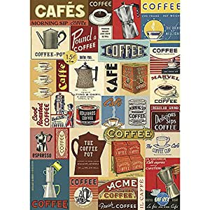 Cavallini Papers & Co - Papier cadeau Motif café rétro - Inscriptions en anglais