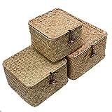 3 Stück Aufbewahrungskiste Aufbewahrungskorb, WCIC Seegras Weben Fall Container Mülleimer Organisation Box mit Cover für Kleidung Laundry Toys Cosmetics CD DVDs Bücher S+M+L
