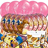Disney Beauty And The Beast Children's Birthday Tableware Party Balloon Pack Kit For 16 Guests