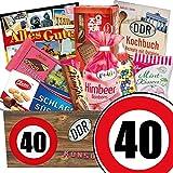 Ostalgie Set | Geburtstags Geschenk Papa | Zahl 40 | Suessigkeiten Korb