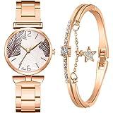 UFAVOR Set di bracciali per Orologi da Donna di Moda, Orologio con quadrante a Foglia Orologi da Polso da Donna Orologi al Qu
