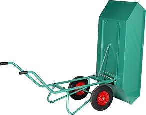 Schwarz Transportgeräte Handtransportgeräte, Kippkarre mit Stahlblechwanne, lackiert Zweiradkarre, Räder Luftgummi400 x 100 mm, ral 6000 patinagrün, 207 x 79 x 85 cm, 1022206
