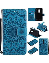 cowx Nokia 5Móvil Funda de piel sintética estilo libro con tapa suave silicona Funda Soporte Piel sintética para Nokia 5Funda Cartera Funda Para Nokia 5Schutzhülle Azul