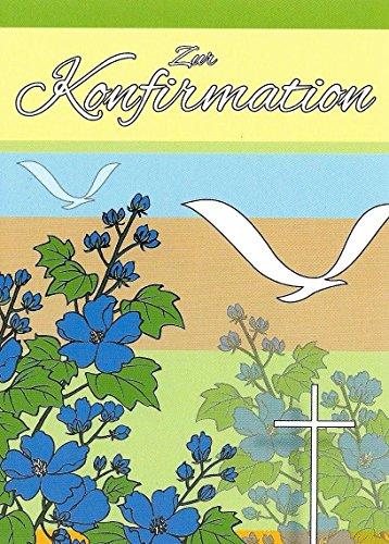 30 Einladungskarten zur Konfirmation mit Innentext und Umschlägen Motiv Blumen / Vögel Junge Mädchen (K32)