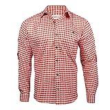 Alpenmode Trachtenhemd für Herren Vers.gr. S-XL/Hemd Oktoberfest Freizeit Lederhosen (Rot, S)