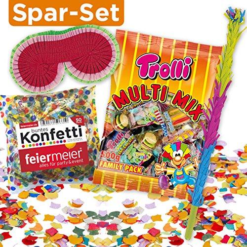 PartyMarty Pinata-ZUBEHÖR-Set: Pinata-Schläger + Maske + XL-Süßigkeiten-Füllung + Konfetti