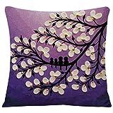 Vivid Ölgemälde schwarz großen Baum und Blume Birds Baumwolle/Leinen Überwurf Kissenbezug Home Sofa Dekorative 45,7x 45,7cm Purple with White Bloom