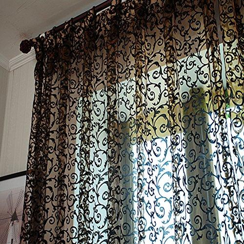 Floral Tüll Voile-Vorhang, einfarbig, mit Voile-Vorhang für Schlafzimmer, Wohnzimmer, Vorhänge, Rosa, Schwarz , 280cm x 100 cm