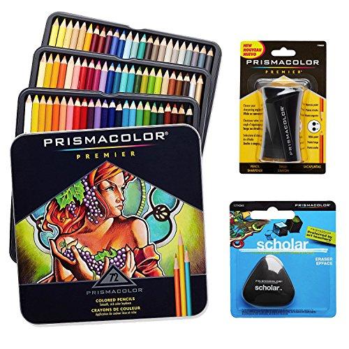Prismacolor Colored Pencils Box of 72 Assorted Colors, Triangular Scholar Pencil Eraser and Premier Pencil Sharpener (Spitzer Box)