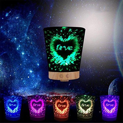 Lh&Fh Aroma Ätherisches Öl Diffusor, Aromatherapie Luftbefeuchter mit 3D Diffusor 7 Farben LED-Licht - Weiß Schmiedeeisen Kronleuchter