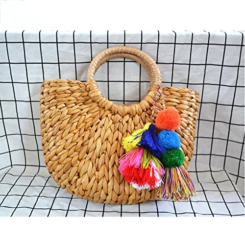 Sorfier Women Straw Wrapped Beach Handmade Pompon Beach Weaving Ladies Moon Shaped Rattan Handbags