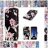 KM-Panda Housse Coque Apple iPhone X Fleurs Noires Cuir PU Wallet Cover TPU Silicone...