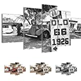 Bilder Vintage Car Route 66 Wandbild 200 x 100 cm Vlies - Leinwand Bild XXL Format Wandbilder Wohnzimmer Wohnung Deko Kunstdrucke Weiß 5 Teilig -100% MADE IN GERMANY - Fertig zum Aufhängen 609851c