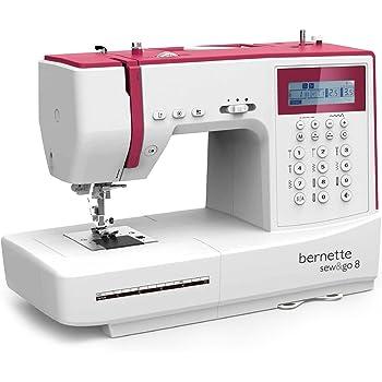 Bernina Bernette Sew & Go 8 - Machine à coudre avec pédale, 197 points différents et programmes de couture (points utiles, points élastiques, points décoratifs), Écran LCD et régulateur de vitesse