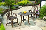 Gablemere 2 Seater Plastic Rose Design Patio Set with Round Bistro Table in Antique Bronze