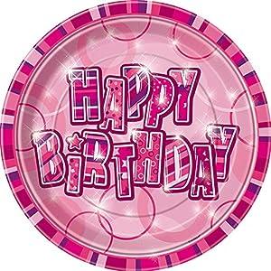 Unique Party- Paquete de 8 platos de papel de cumpleaños, Color rosa, Feliz (28434)