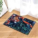 fuhuaxi Weihnachtsdekor-rote Klingel-Bänder, die Glocke in den Schnee-Bad-Wolldecken Rutschfeste Fußmatte-Boden-Eingang Inneninnenraum-Haus-Fußmatten-Kinderbadematte 60X40CM Badezimmer-Zusätze winken