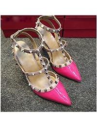 Zapatos de Tacón Alto con Zapatos con Correa en T Sandalias de Tacón Alto,Mi,40