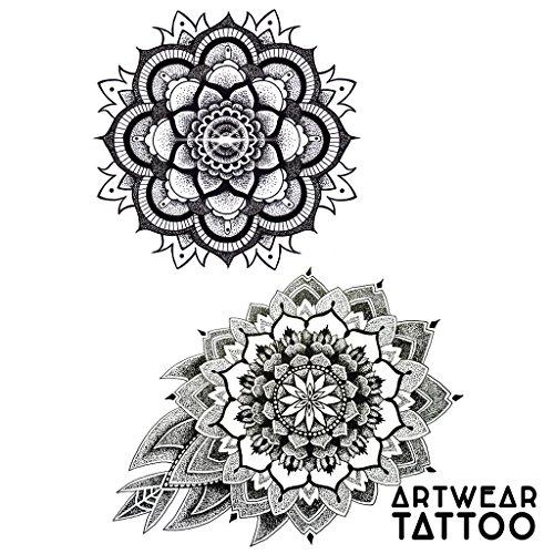 """2 Tatuajes temporales Realistico di artista """"Mandala V1"""" - ArtWear Tattoo – B9971 M"""