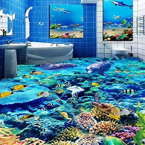 Benutzerdefinierte Größe 3D Fototapete Unterwasserwelt Bodenbelag PVC Badezimmer 3D Raum Boden Dekoration Wandbild Vinyl Tapete Wohnkultur, 430 * 300 cm