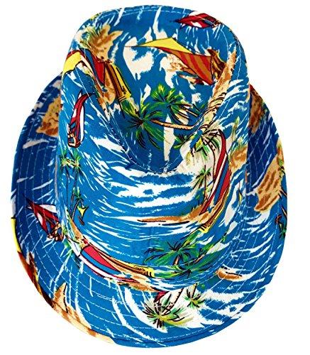 CLUB CUBANA Hawaiianische Fedora Hüte Für Männer Frauen Unisex Trilby Hut Panama Stil Sommer Strand Sonne Jazz Luau Kostüm Party Kappe - Sonne Hut Kostüm