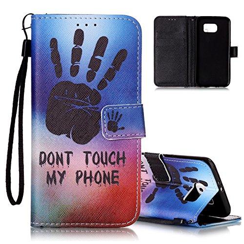 Galaxy S6 Ledertasche,Flip Schutzhülle für Samsung Galaxy S6, Aeeque® [Hand Sprichwort Muster] Kartenfach Standfunktion mit Schwarz Abnehmbar Handy Lanyard und Weich Silikon Innere Handytasche