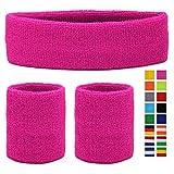 HikBill Schweißbänder Set inkl Sport Stirnband und Handgelenk Schweißbänder für Laufen Fahrrad Joggen Tennis Fußball (Pink)