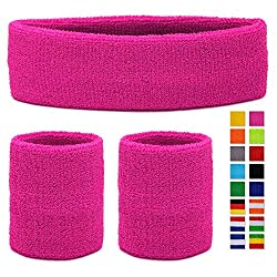 HikBill Sweatbands Set incl Sports Headband and Wrist Sweatbands for Running Bicycle Jogging Tennis Football (Pink)