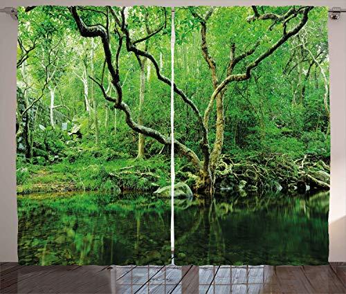 ABAKUHAUS Grün Rustikaler Vorhang, Natur Themen Dschungel, Wohnzimmer Universalband Gardinen mit Schlaufen und Haken, 280 x 260 cm, Dunkelbraun