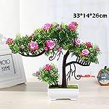 WEII Simulation Eingemachte Grüne Pflanze Simulation Bonsai Kreative Dekoration Ornamente,Rosa Jasmin,Einheitsgröße