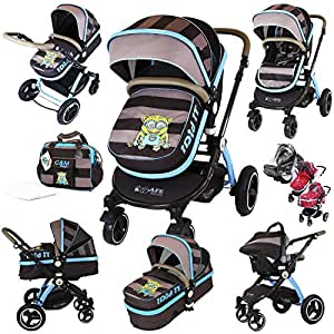 i-Safe System - i DiD iT Trio Travel System Pram & Luxury Stroller 3 in 1 Complete With Car Seat + Changing Bag + Rain Covers