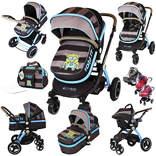 i-Safe System – i DiD iT Trio Travel System Pram & Luxury Stroller 3 in 1 Complete With Car Seat + Changing Bag + Rain Covers 61Q 2B1Or92NL