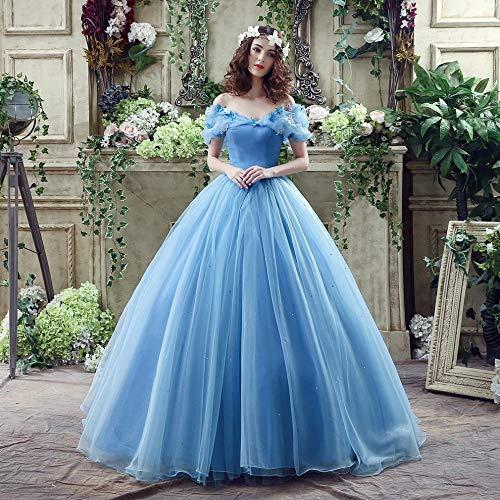 AZW@ Brautkleid, Moderne Version Der Braut Kleid Plattform Cinderella Kleid Blaue Farbe Brautkleid ()