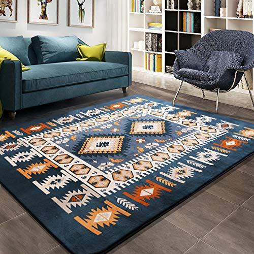 drolpt Mediterraner Teppich Große Wohnzimmer Teppiche Blaue Schlafzimmer Teppiche Teetisch Rechteckige Bodenmatte @ A01_130x190cm -