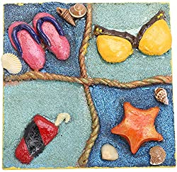 5 ELEMENTSetc Wooden Freeze and cupboard Magnet (10 cm x 10 cm, Shimmer Blue)