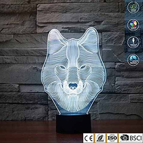 3D Illusion Lamp jawell Night Light Wolf 7 Changing Colors Touch USB Table Nice Gift Toys Decorations