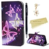 A3 2017 Case , Galaxy A3 Case (2017 Model) - Mavis's Diary Wallet Flip Bumper Cover PU Leather Case Shockproof Prints Design with Soft Inner TPU Case Slim Fit Folio Stand Protective Magnetic Closure Cover for Samsung Galaxy A3 2017 with Dust Plug & Stylus - Purple Butterfly