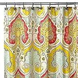 Eanshome Leuchtend Roten Und Gelben Indien Tropischen Bad Duschvorhang mit Paisley-Muster