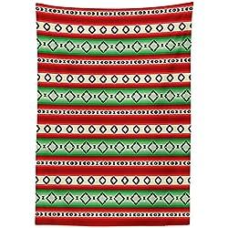 "Yeuss Fiesta - Mantel para Exterior, Diseño de Rayas y Rombos Mexicanos, Color Crema Vermilón Verde, 132 x 178 cm, 52"" x 70""(132 x 178 cm)"