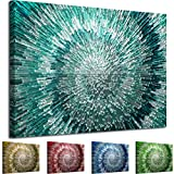 AB283.1 WOYW Framed Canvas Print - A Modern Wall Art - Abstract Picture - Colour Options - Teal Silver Spiral - Living Room & Home Decor with Easy Hang Guide (20x30)