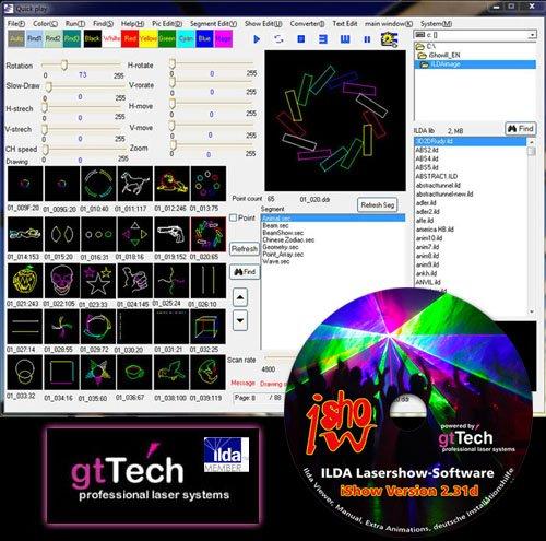 GT-TECH LASER IShow Version 2.31g Ilda Lasershow Software mit ILDA Interface