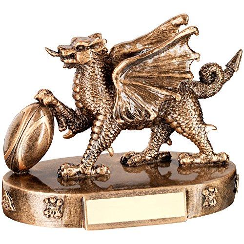 Bronze 4.25 (Rugby Trophy, walisischer Drache mit Rugby Ball in Bronze und Gold Harz, , 4.25